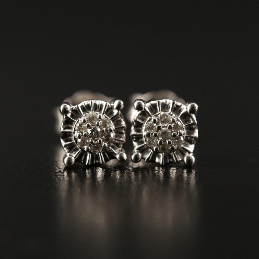 Sterling Diamond Cluster Stud Earrings