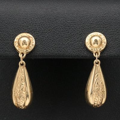 Michael Anthony 14K Scrollwork Teardrop Dangle Earrings