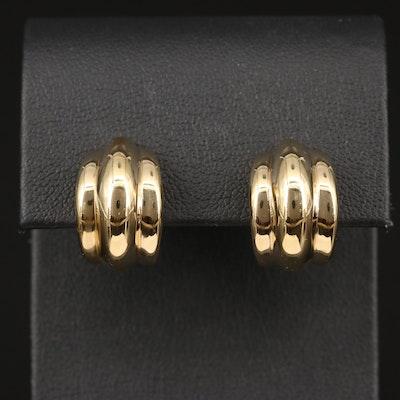 14K Fluted Clip-On Earrings