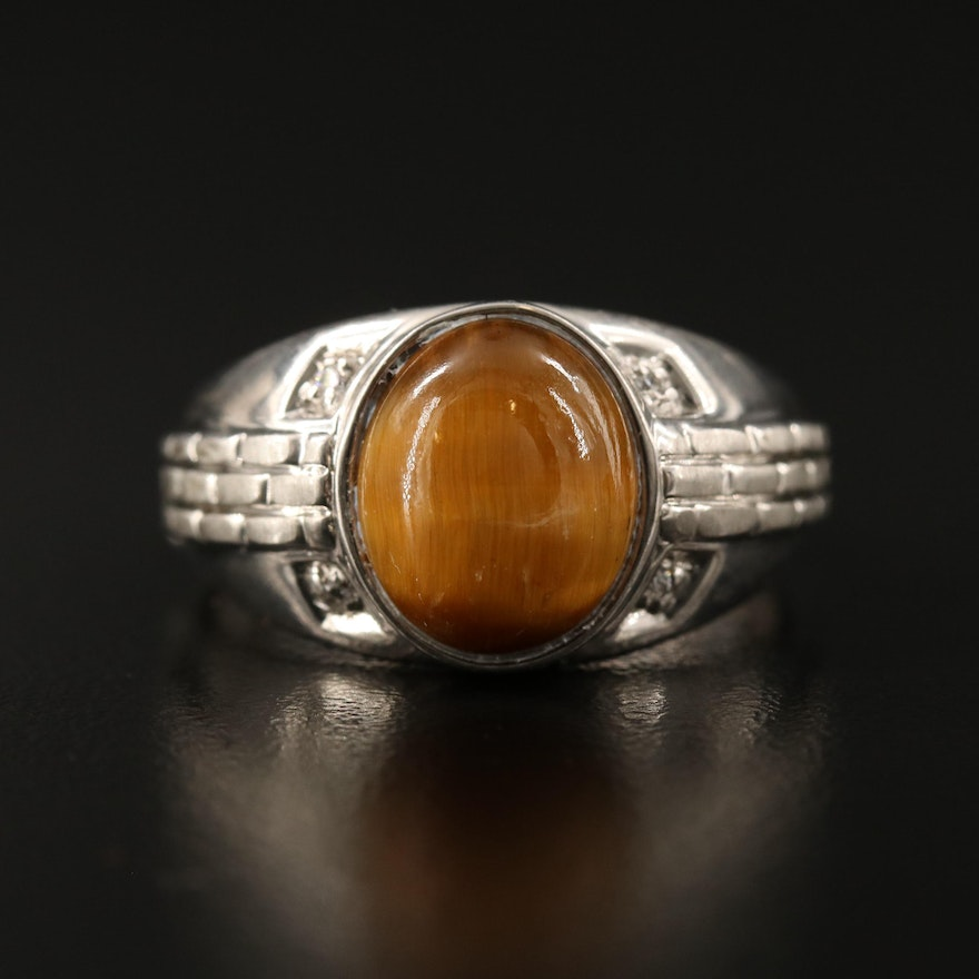 Sterling Silver Tiger's Eye and Cubic Zirconia Ring