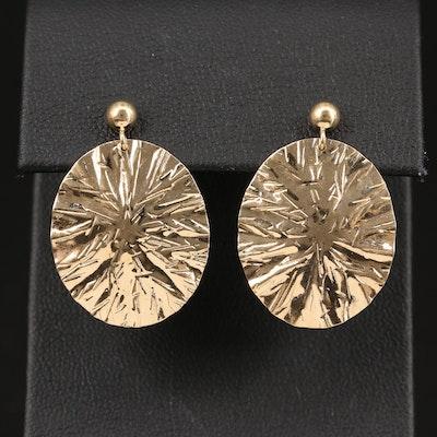 14K Oval Patterned Dangle Earrings