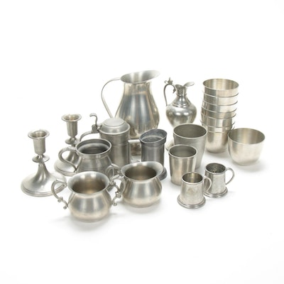 Woodbury Pewter Cups and Other Pewter Drinkware and Table Accessories