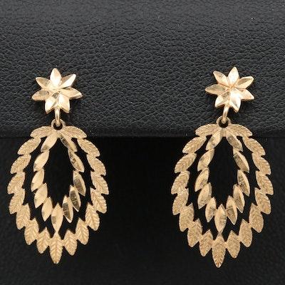 14K Leaf Mofit Dangle Earrings