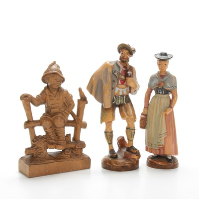 Anton Fischer and Other German Wood Carved Hand-Painted Figurines