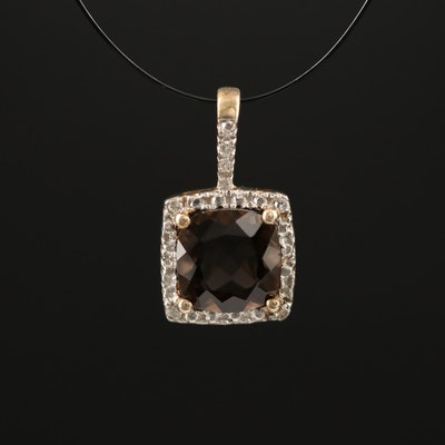 Sterling Smoky Quartz and Diamond Pendant