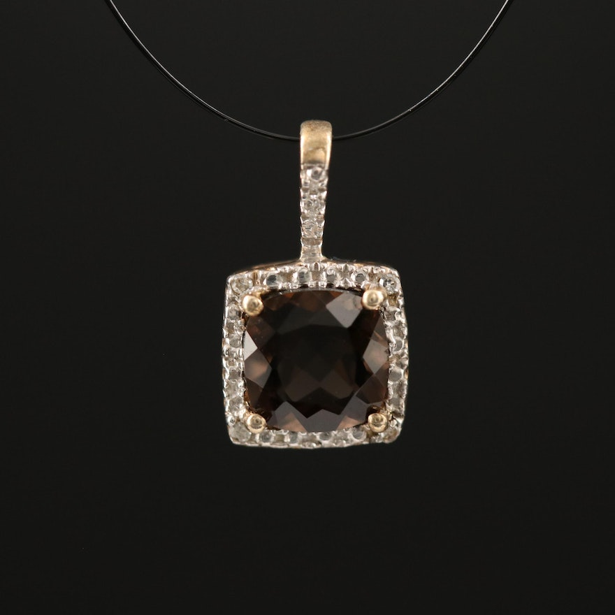 Sterling Smoky Quartz and Diamond Pendant