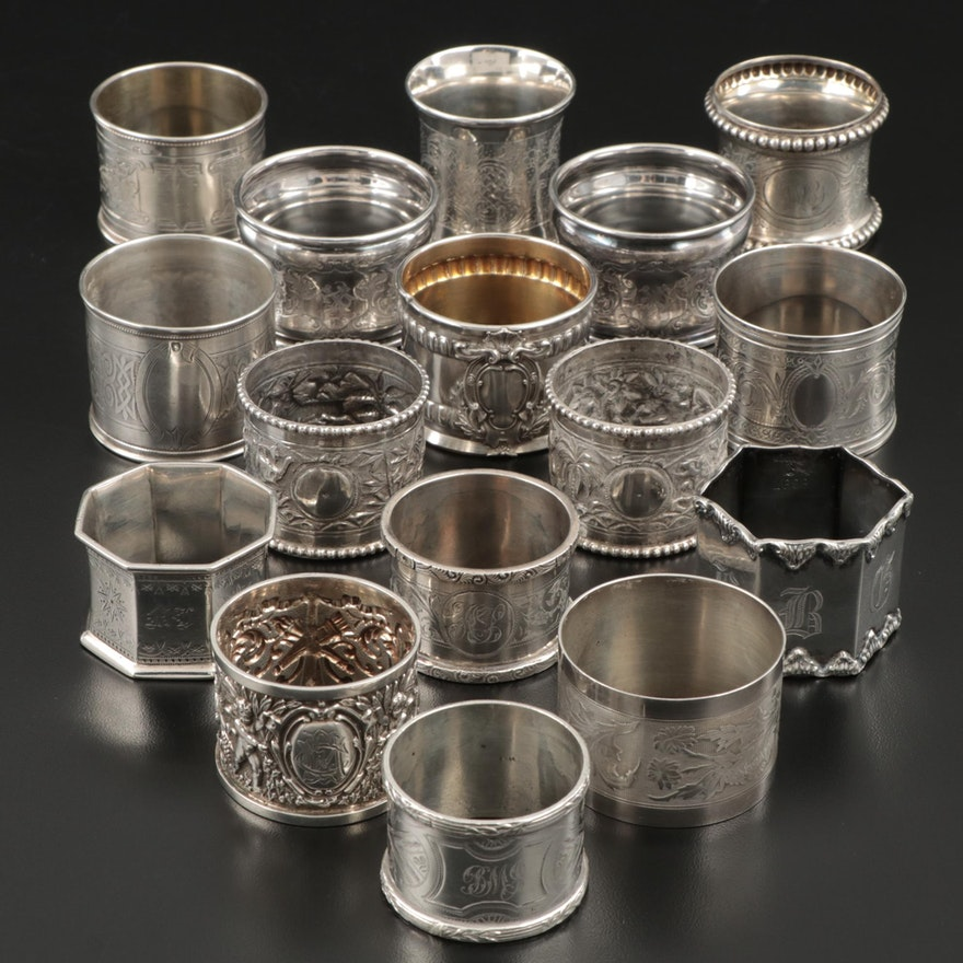 Continental Sterling Silver, 800 Silver, and Metal Napkin Rings