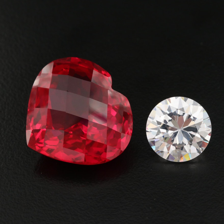 Loose Laboratory Grown Ruby and Cubic Zirconia