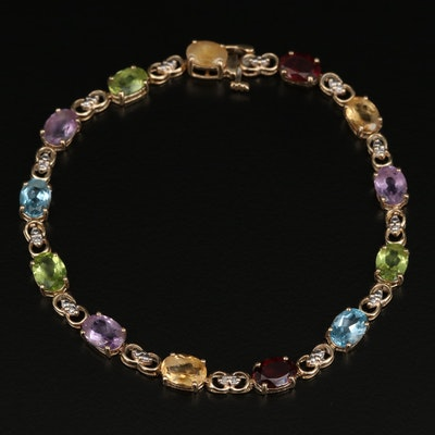 10K Gemstone and Diamond Bracelet