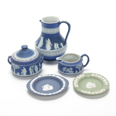 Wedgwood Blue and Green Jasperware Table Accessories