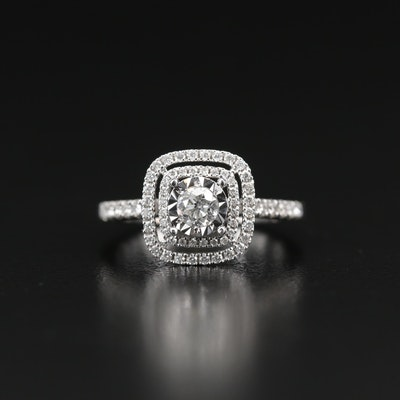 14K Diamond Illusion Set Double Halo Ring