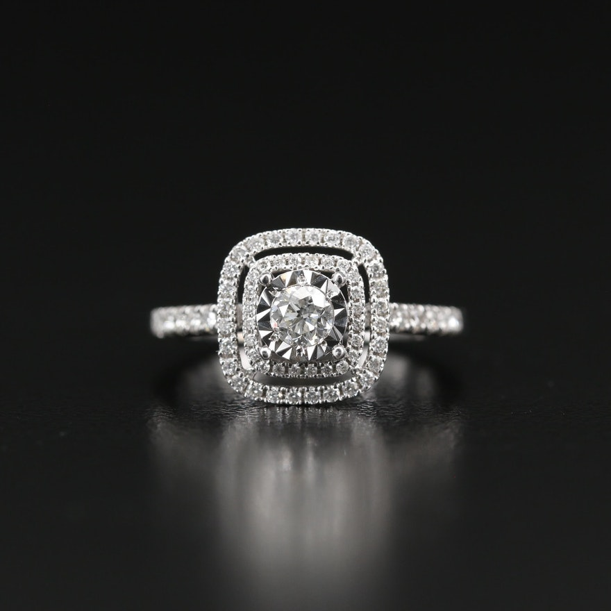 14K Diamond Illusion Set Double Halo Ring