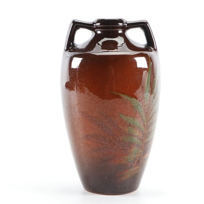 Weller Louwelsa Standard Glaze Ceramic Palm Leaf Vase, Late 19th to Early 20th C