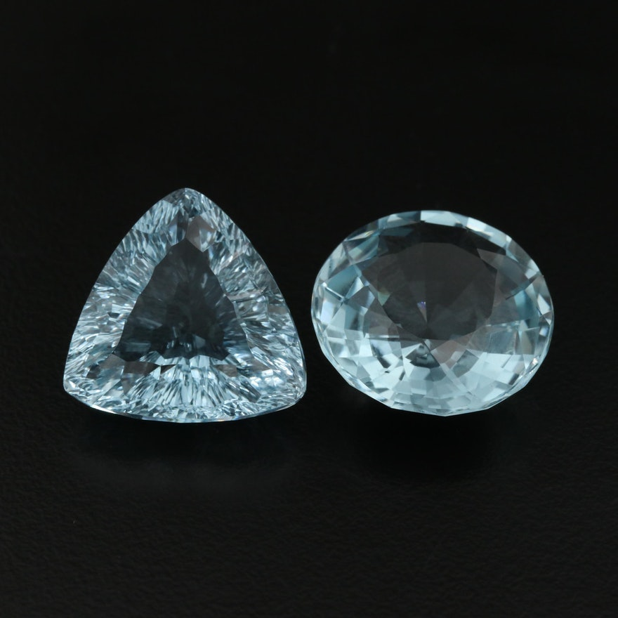 Loose 41.49 CTW Trillion and Round Faceted Blue Quartz
