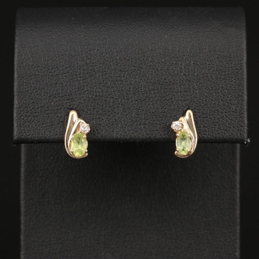10K Peridot and Cubic Zirconia Stud Earrings