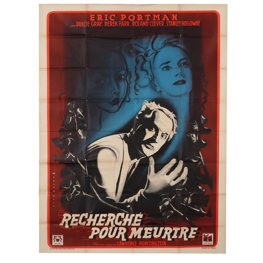 "Offset Lithograph Movie Poster for ""Recherché pour Meutre"", Circa 1946"