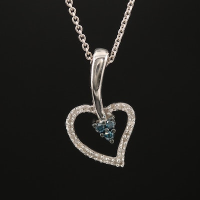 Sterling Diamond and Blue Diamond Double Heart Pendant Necklace