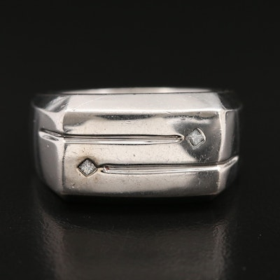 Sterling Silver Euro Shank Ring with Diamond Accents