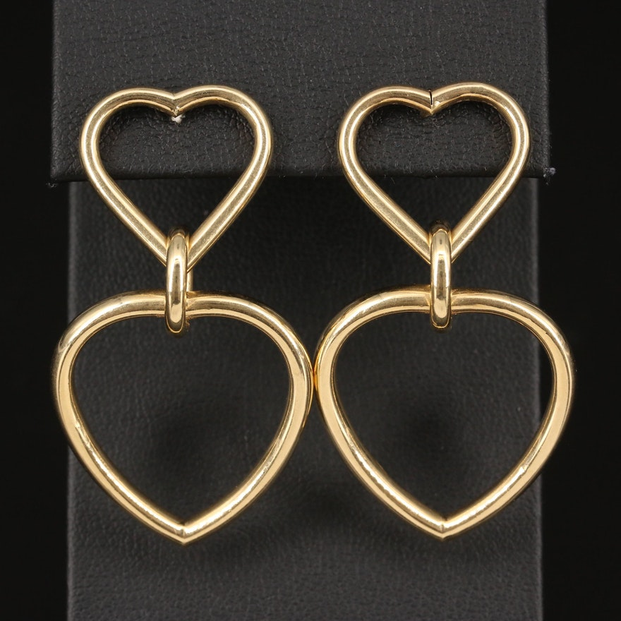14K Heart Drop Earrings