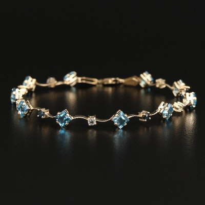 14K Topaz, Sapphire and Quartz Bracelet
