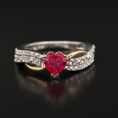Sterling Silver Ruby and Topaz Ring