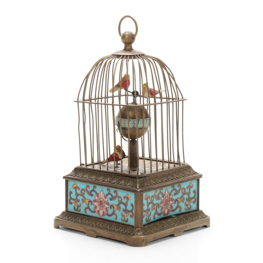Birdcage Automaton Clock with Cloisonné Base