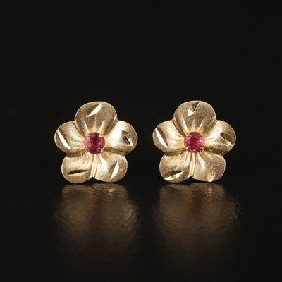 14K Flower Motif Ruby Earrings