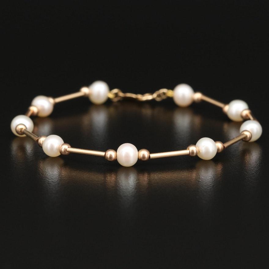 14K Pearl Bead and Bar Station Bracelet