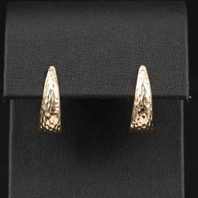 14K Textured J Hoop Earrings