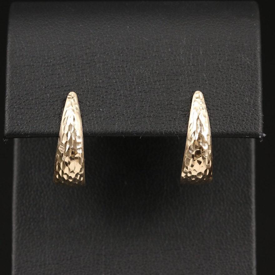 14K Textured J Hoop Earrings