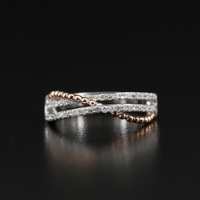14K Diamond Crossover Band with Rose Gold Accent