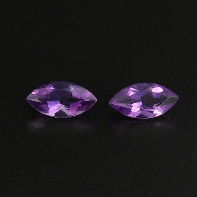 Matched Pair of Loose 1.89 CTW Marquise Faceted Amethysts