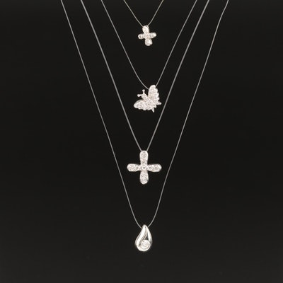 Diamond Charm Necklaces with Butterfly, Tear Drop and Cross Designs