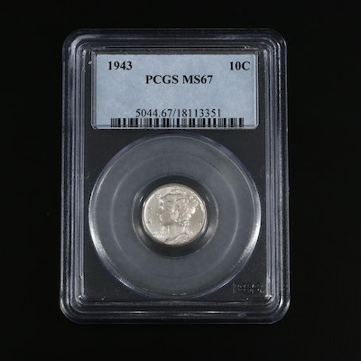 PCGS Graded MS67 1943 Mercury Silver Dime
