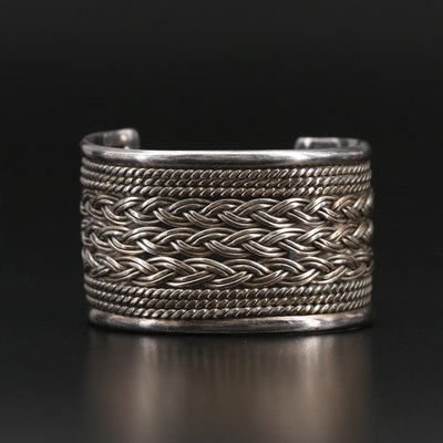 Sterling Silver Cuff Featuring Braided and Twisted Wire Designs