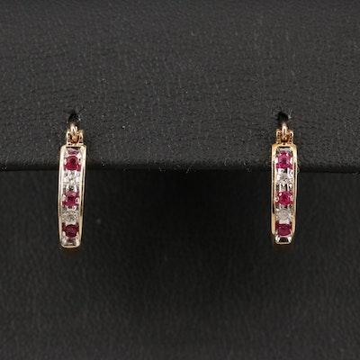 10K Ruby and Diamond Hoop Earrings
