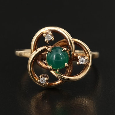 10K Chalcedony and Spinel Borromean Rings Motif Ring