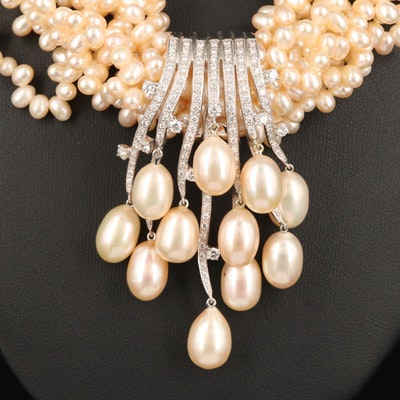 18K Multi-Strand Pearl and 1.50 CTW Diamond Necklace with Enhancer Pendant