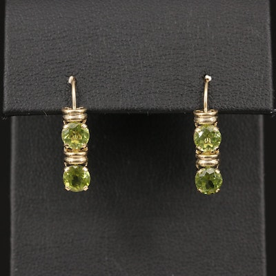 14K Round Faceted Peridot Dangle Earrings