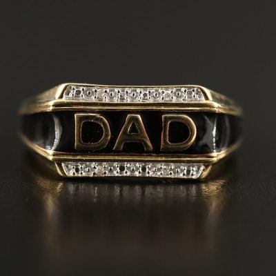 "Sterling Silver Diamond and Enamel ""DAD"" Ring"