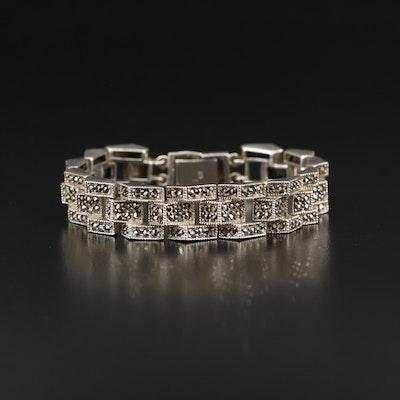 Sterling Silver Marcasite Geometric Multi-Row Bracelet