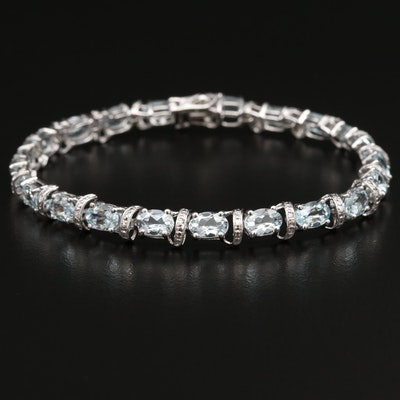 10K Oval Faceted Aquamarine and Diamond Line Bracelet