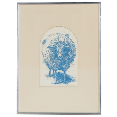 """Robert Skelley Lithograph """"Sheep"""", Late 20th Century"""