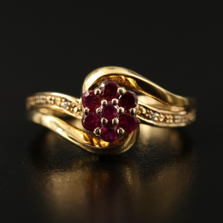 Sterling Silver Ruby and Cubic Zirconia Bypass Ring
