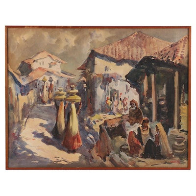 G. D. Paul Raj Watercolor Painting of Indian Street Scene