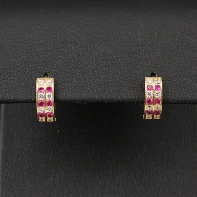 14K Ruby and Cubic Zirconia Earrings