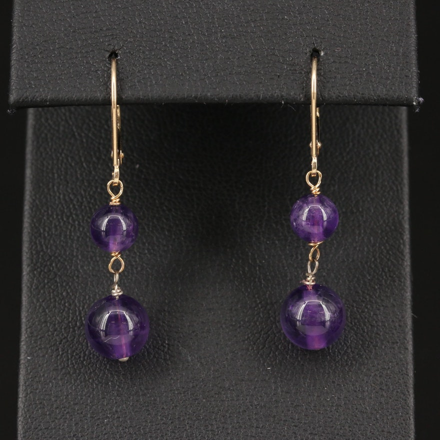 Amethyst Earrings with Sterling Silver and 14K Findings