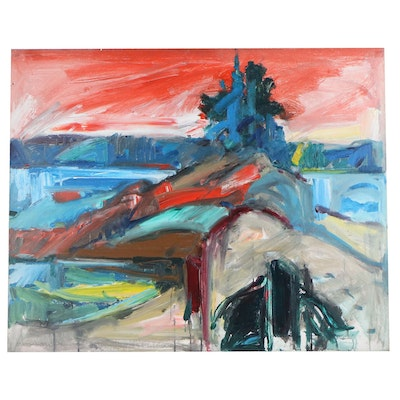 Jack Meanwell Abstract Acrylic Painting, Late 20th Century