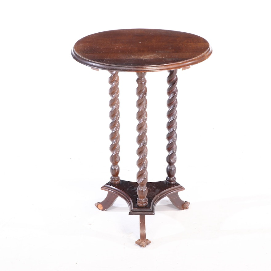 Mahogany-Finished Barley Twist Side Table, 20th Century