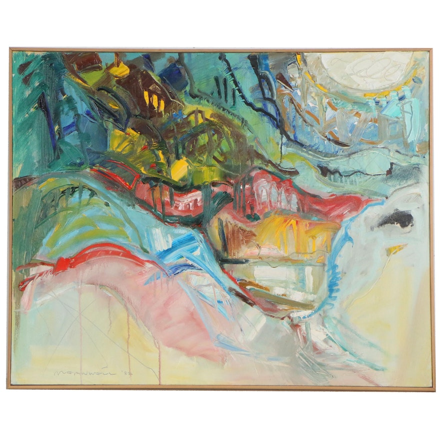 Jack Meanwell  Abstract Mixed Media Painting, 1982